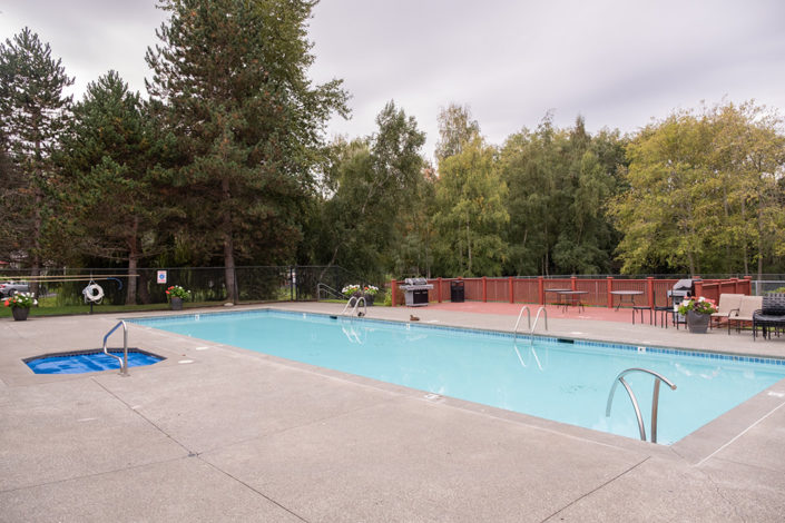 The swimming pool at Lighthouse Apartments.