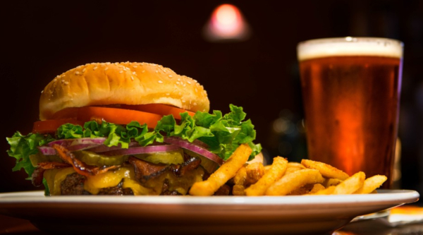 burger fries and beer, cheeseburger with bacon and pickles