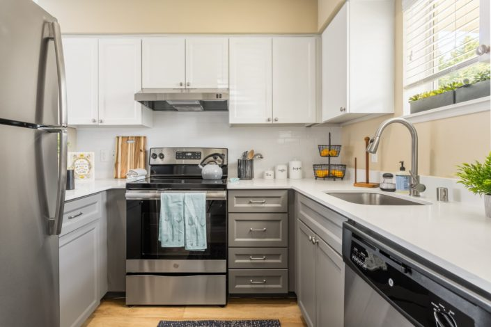A lovely kitchen with stainless steel appliances.